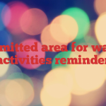 Permitted area for water activities  reminder